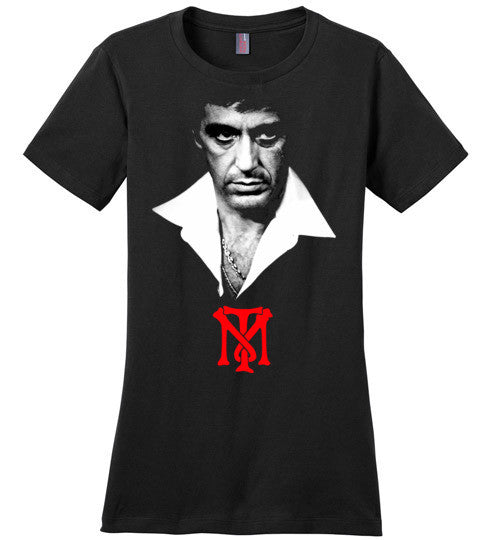 Tony Montana Scarface Al Pacino Gangster Movie 80's ,v2, District Made Ladies Perfect Weight Tee