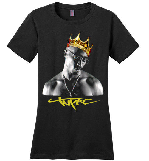 Tupac 2pac Shakur Makaveli Gold Crown Death Row hiphop gangsta Swag Dope, v17, District Made Ladies Perfect Weight Tee