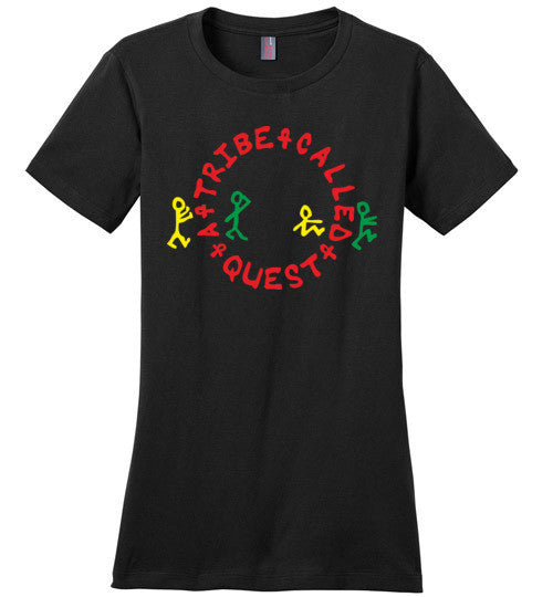 ATCQ A Tribe called Quest Classic Hip Hop New York City Low End Theory Phife Dawg Q-tip, v1a, District Made Ladies Perfect Weight Tee