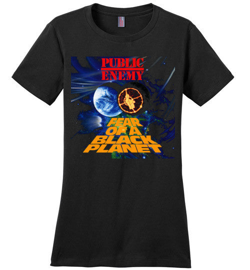 Public Enemy Fear Of A Black Planet Album Cover, Chuck D, Flavor Flav,Terminator X, Classic Hip Hop ,v5, District Made Ladies Perfect Weight Tee