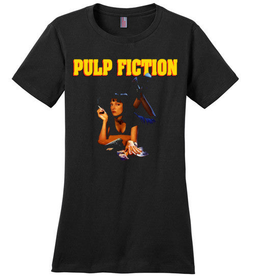 Pulp Fiction Mia Wallace , quentin tarantino, mobsters, john travolta, vincent, jules, v7, District Made Ladies Perfect Weight Tee