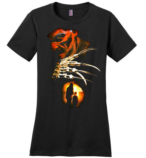 Nightmare on Elm Street Freddy Krueger Horror Movie , v6, District Made Ladies Perfect Weight Tee