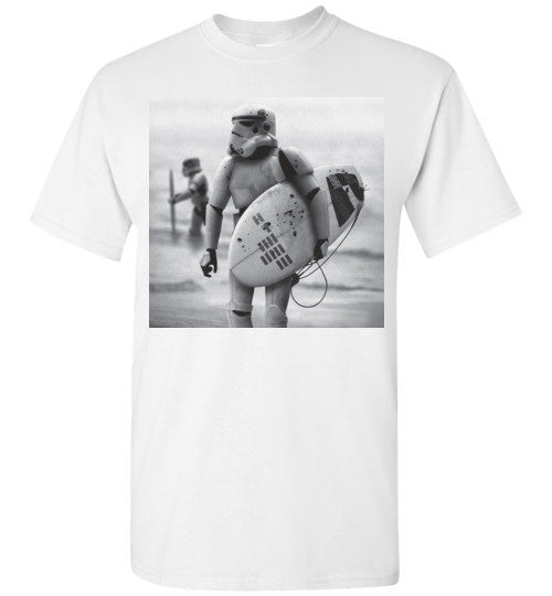 StormTrooper Surfing Star Wars Selfie Retro Vintage Surf , Gildan Short-Sleeve T-Shirt