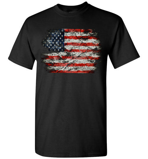 USA Flag Distressed 4th Of July Independence Day America Vintage American Flag v2b , Gildan Short-Sleeve T-Shirt