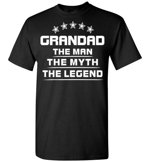 GRANDAD personalized tshirt for men The Man The Myth The Legend T Shirt Father T Shirt Dad T Shirt Tee Shirt Gift Father's Day,Gildan Short-Sleeve T-Shirt