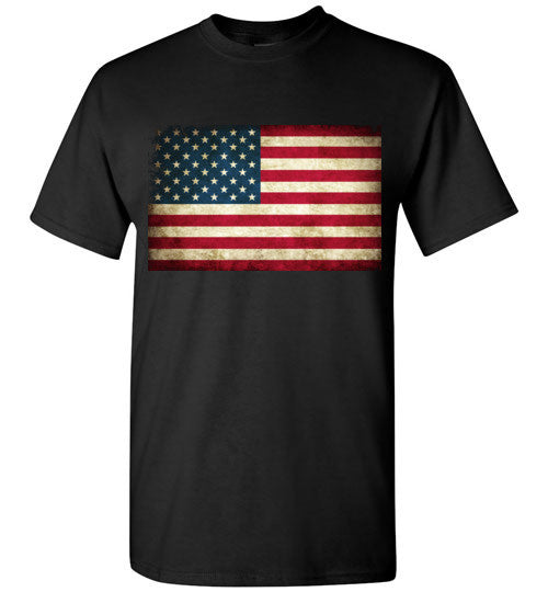 USA Flag Distressed 4th Of July Independence Day America Vintage American Flag v4 , Gildan Short-Sleeve T-Shirt