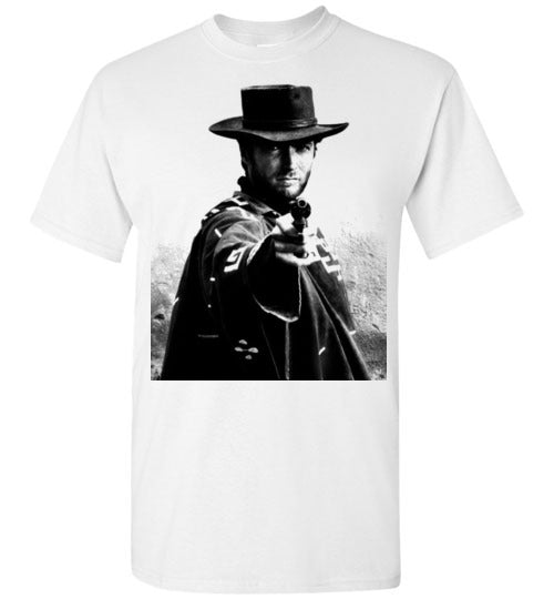 A Fistful of Dollars,Clint Eastwood,Sergio Leone, Spaghetti Western,The Good, the Bad and the Ugly,The Man with No Name,Ennio Morricone,v1,Gildan Short-Sleeve T-Shirt