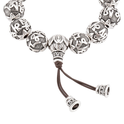 OM MANI PADME HUM mantra, Lotus beads Buddhism Silver plated Thai bracelet - Snazzycollection.com
