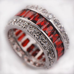 Sterling Silver,925 Multi-Color Crystal Ring