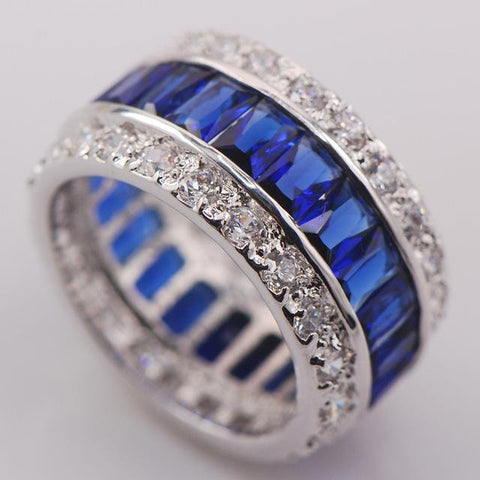 Sterling Silver,925 Multi-Color Crystal Ring - Snazzycollection.com