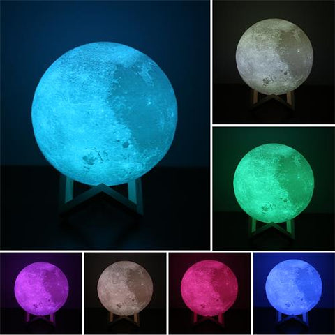 Exquisite Changing Colors 3D Moon Lamp