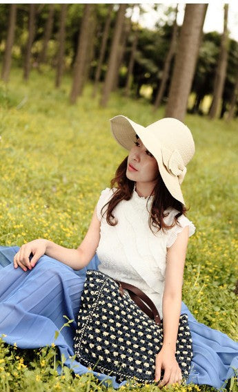 Sexy Summer Large Brim Bow Straw Hat - Snazzycollection.com