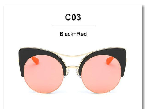 Oversized Pink Cateye Lady's Mirrored Sunglasses - Snazzycollection.com