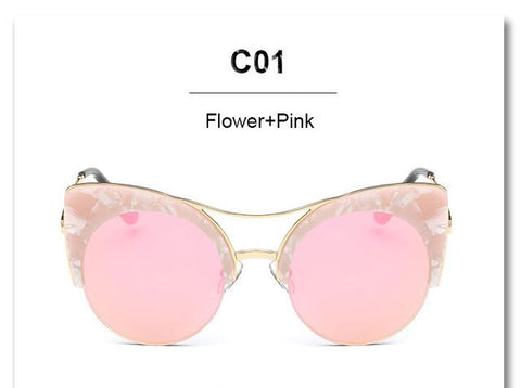 Sunglasses - CandisGY Oversized Pink Mirror Cateye  Lady's Sun Glasses