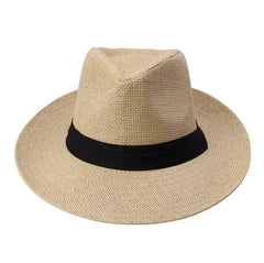 Unisex Large Brim Panama Straw Hat With Black Ribbon