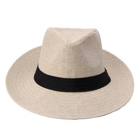 Unisex Large Brim Panama Straw Hat With Black Ribbon - Snazzycollection.com