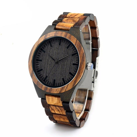 Multi colored Mens Wooden Quartz Watch with Black face - Snazzycollection.com