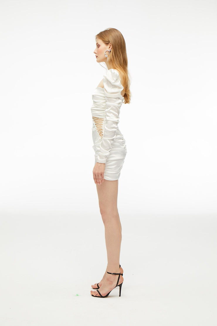 Bonnie sexy White Cross Crystal Dress - Nana Jacqueline