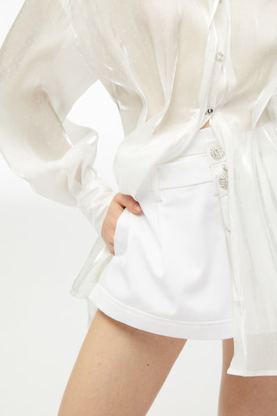 White Crystal Diamond Button Shorts - Nana Jacqueline