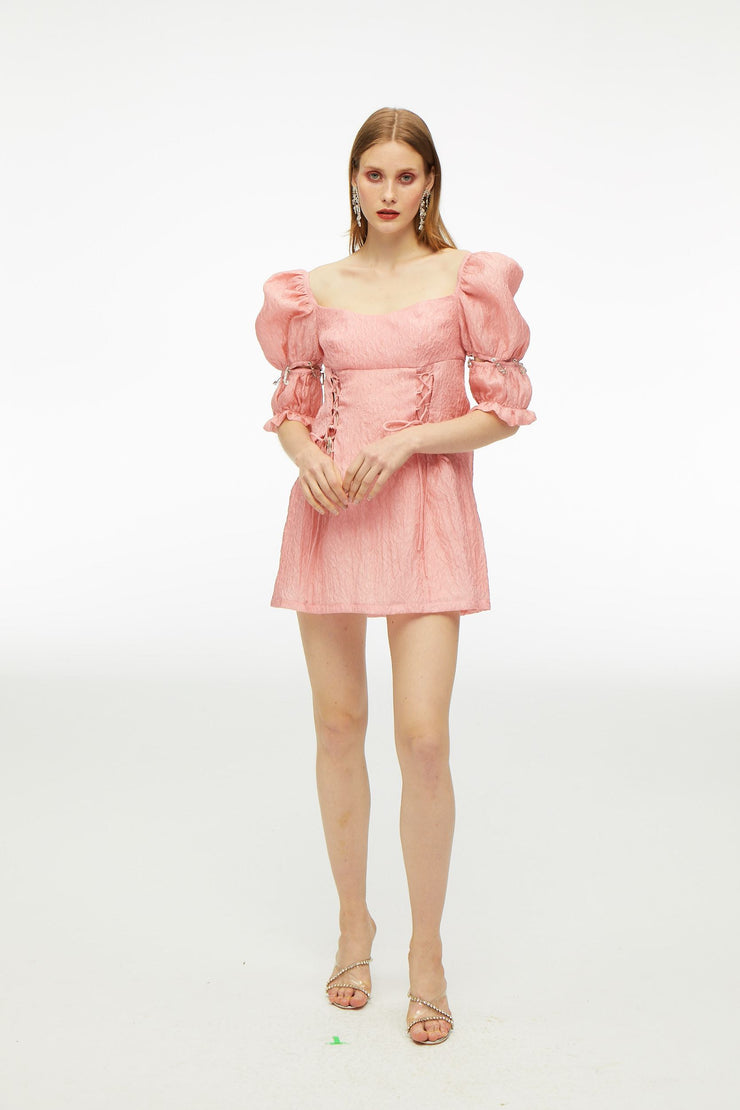Dry Rose Palace Bubble Sleeve Dress - Nana Jacqueline