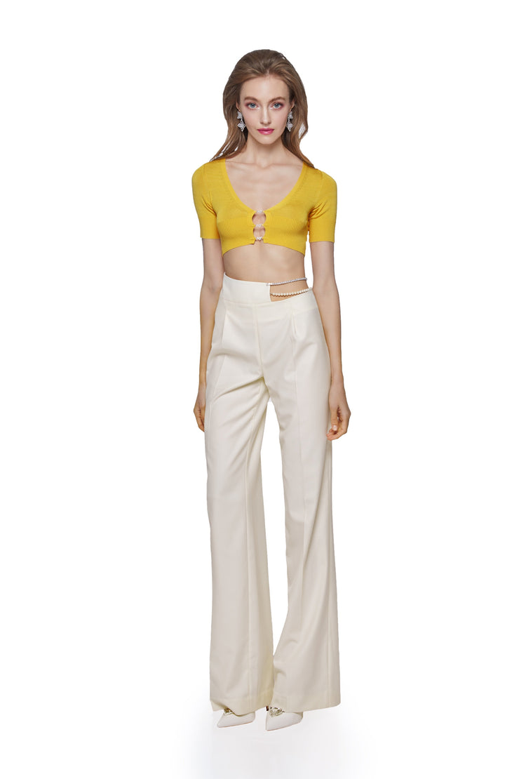 White Hallie Wide Leg Pants - Nana Jacqueline