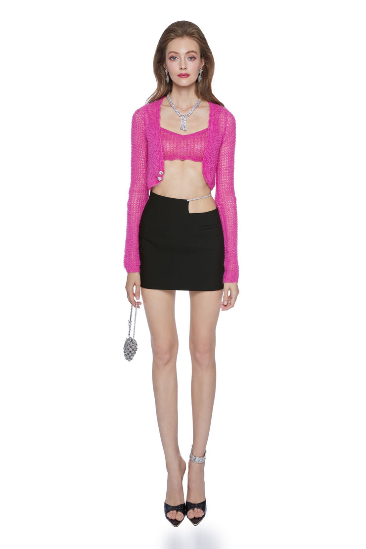 Hot Pink Mohair knitted two-piece suit - Nana Jacqueline