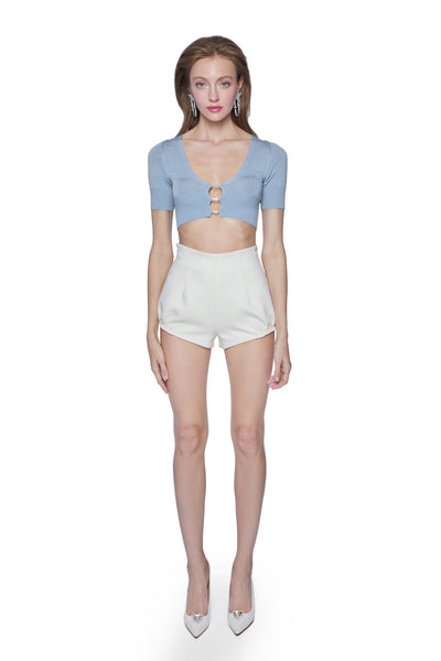 Blue Polly Crop Knit - Nana Jacqueline