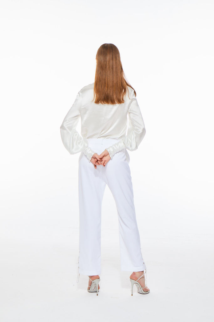 Florence Satin Blouse in White - Nana Jacqueline