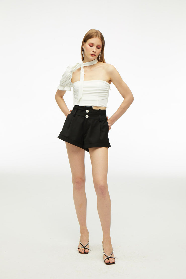 Crystal Diamond Buckle Waist Shorts - Nana Jacqueline