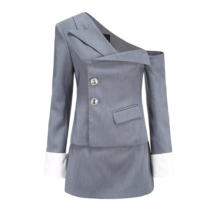 Grey Manhattan Blazer Top - Nana Jacqueline