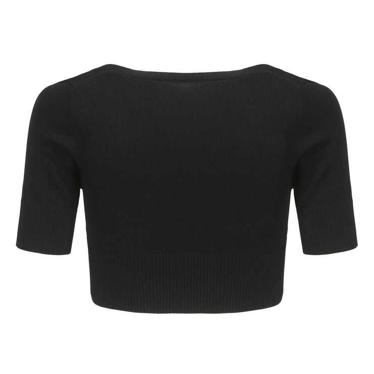 Black Polly Crop Knit - Nana Jacqueline