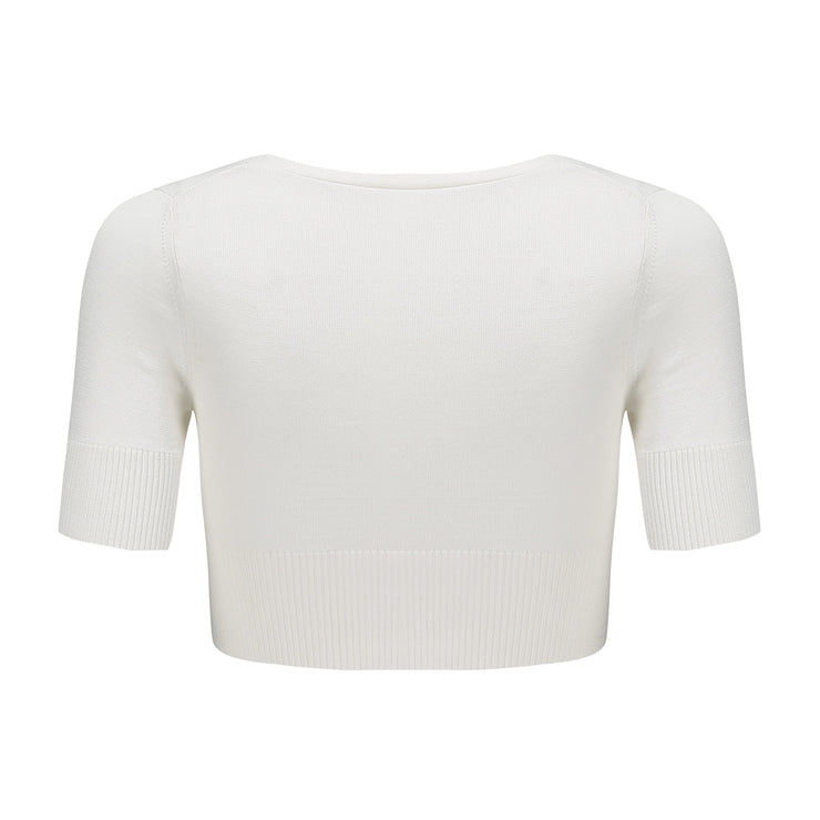 White Polly Crop Knit - Nana Jacqueline