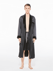 The Gentlemen Velvet Silk Robe in Black - Nana Jacqueline