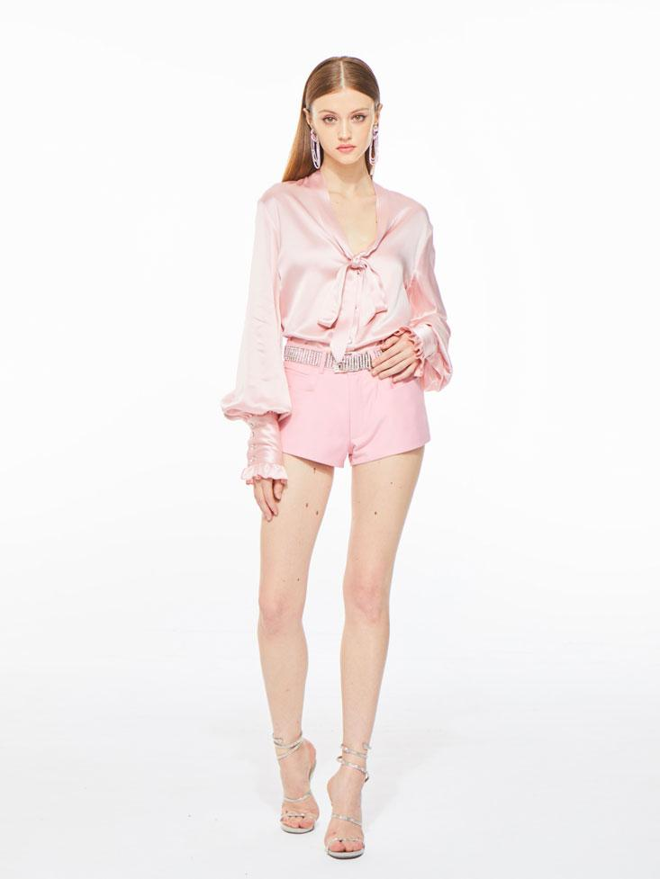 Florence Satin Blouse in Pink - Nana Jacqueline