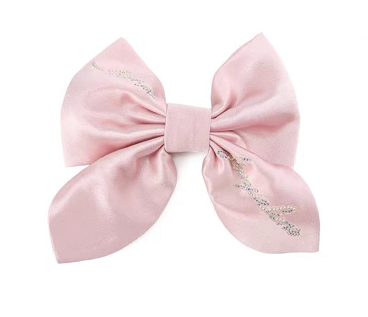 Satin NJ Hair Bow in Light Pink - Nana Jacqueline