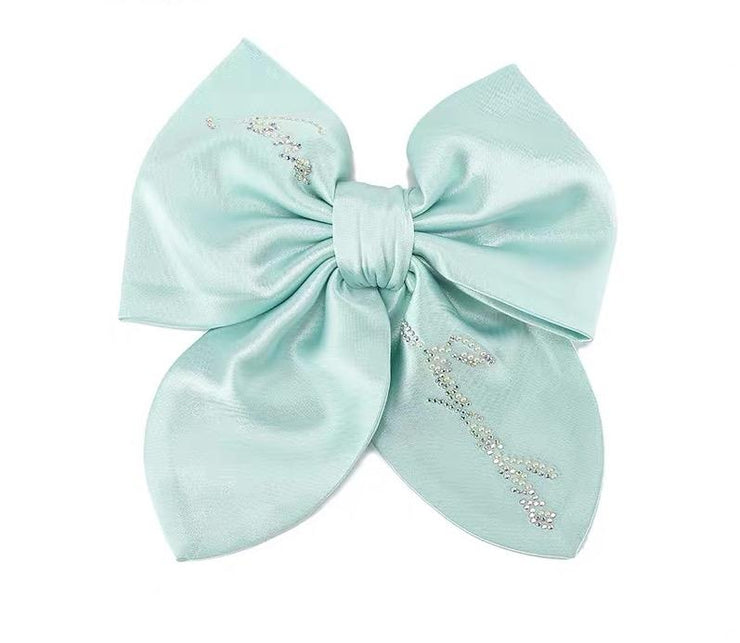 Satin NJ Hair Bow in Mint Green - Nana Jacqueline