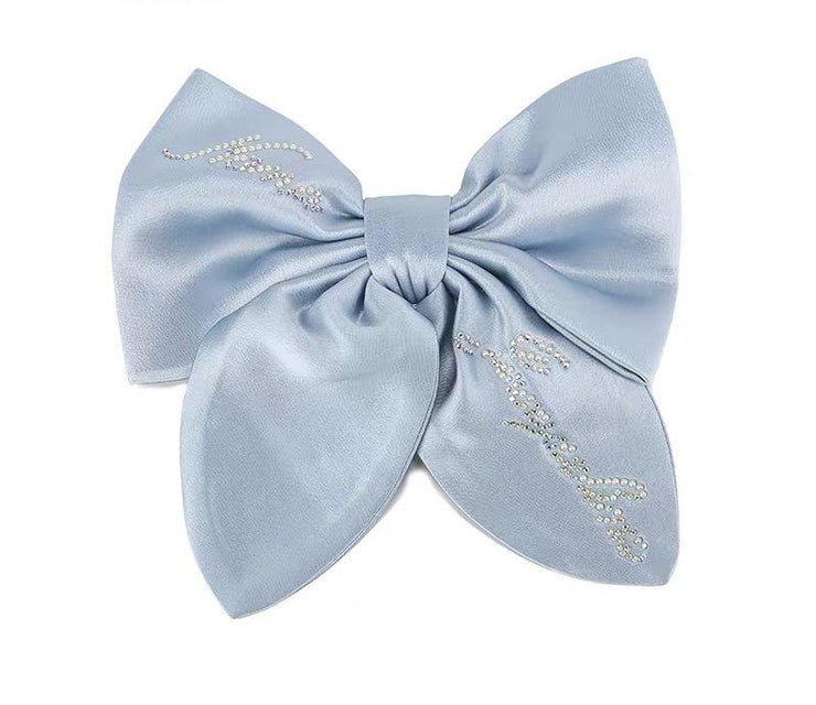 Satin NJ Hair Bow in Baby Blue - Nana Jacqueline