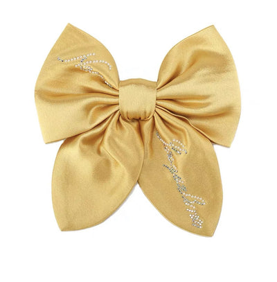 Satin NJ Hair Bow in Yellow - Nana Jacqueline