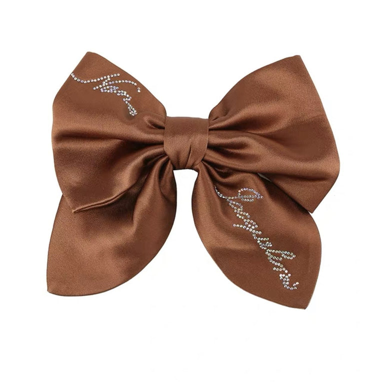 Satin NJ Hair Bow in Brown - Nana Jacqueline