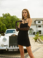 Black Jelena Cross Tie Dress - Nana Jacqueline