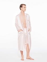 The Gentlemen Velvet Silk Robe in Pink - Nana Jacqueline