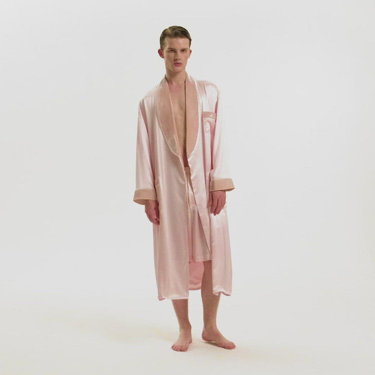 The Gentlemen Velvet Silk Robe in Pink