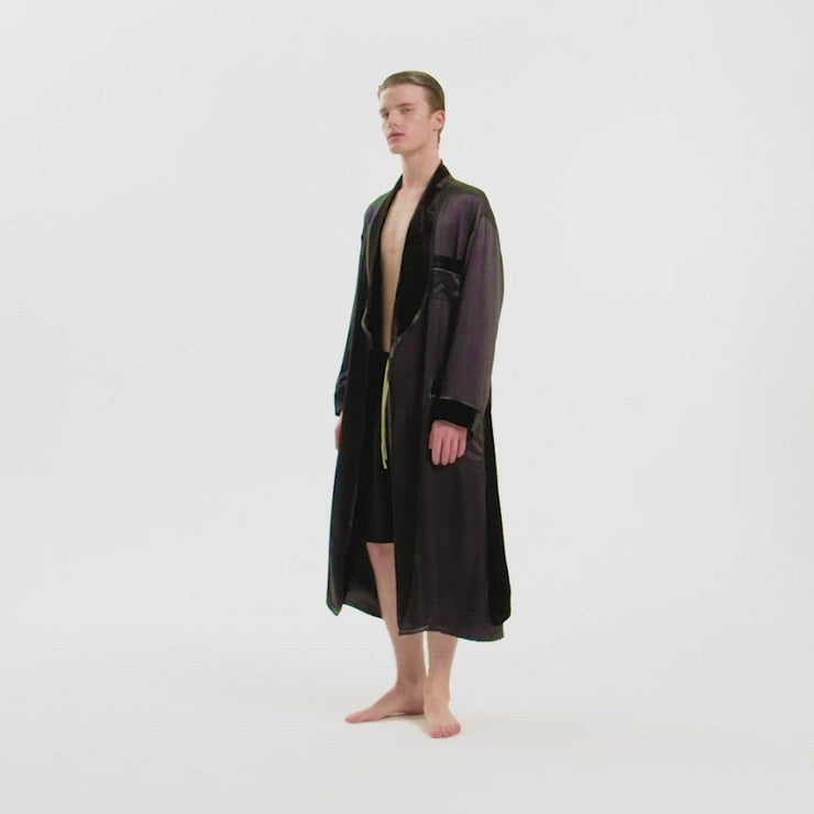 The Gentlemen Velvet Silk Robe in Black
