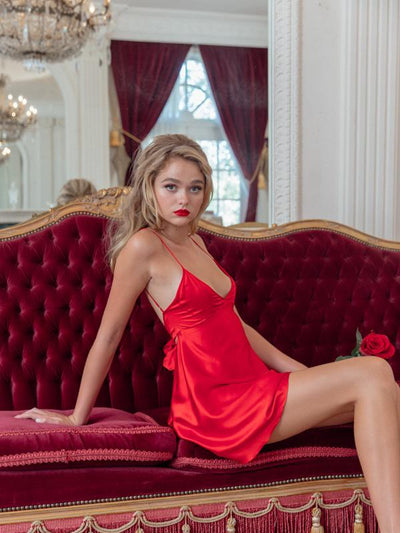 Moon Goddess Red Silk Dress - Nana Jacqueline
