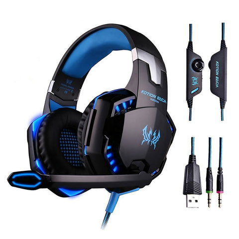 G2000 Gaming Headset Deep Bass Headphones with microphone LED Light for computer PC Gamer