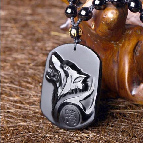 Black Obsidian Wolf Necklace Carving Wolf Head Amulet