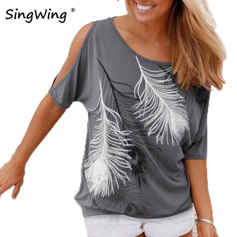Summer Women Feather Printed T-shirts O- neck Strapless