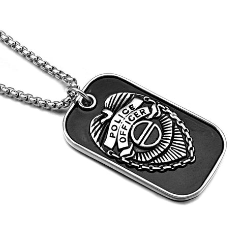 USA Police Pendants Necklaces Black Titanium Stainless Steel Dog tags for Men