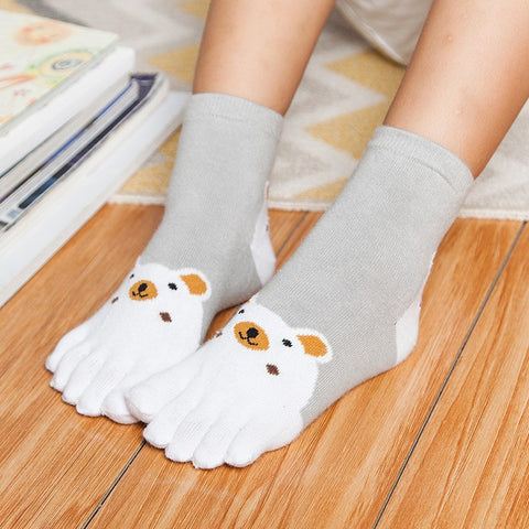 Kids Socks Cute Cartoon Bear Five Toes Socks Girl