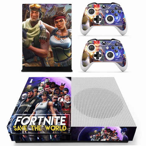 Fortnite Skin Sticker Decal For Xbox One S Console and 2 Controllers